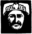 woodcut Baba with heart crown